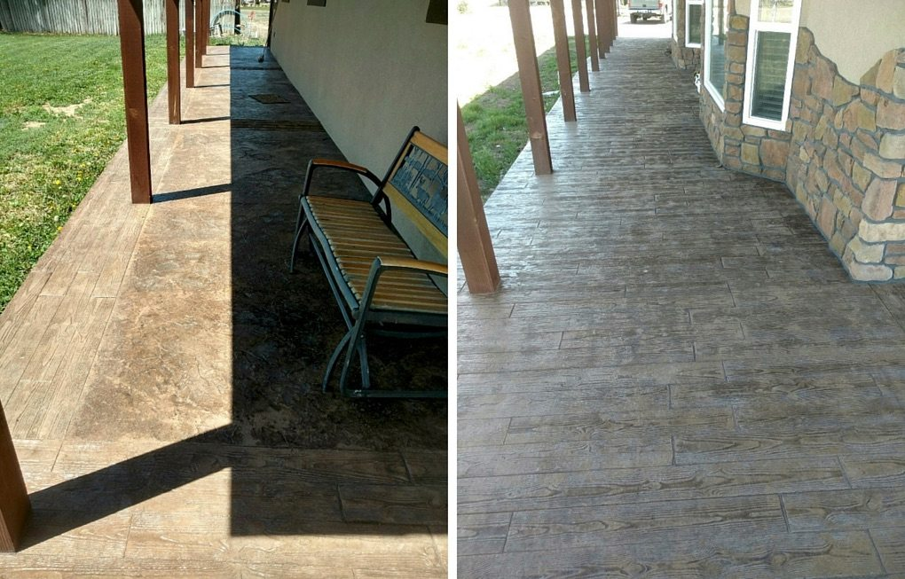 Stained Concrete Patio Before And After