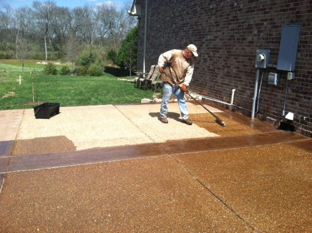 How to stain concrete floors intermountain concrete for Acid wash concrete driveway