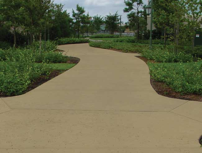 sloped concrete walkway