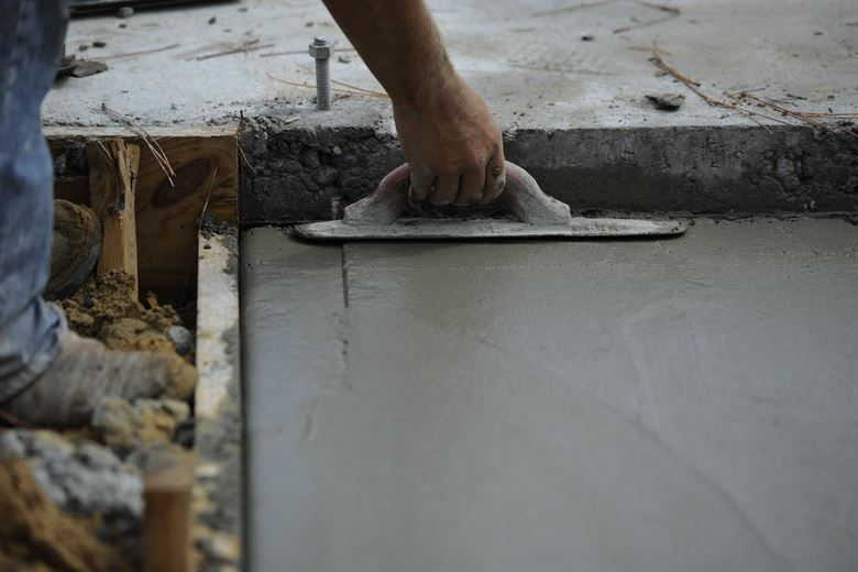 trowel on small concrete pad